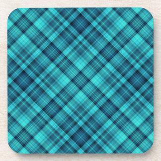 Blue shaded plaid pattern beverage coasters