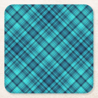 Blue shaded plaid pattern square paper coaster