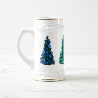 Blue Shades Colored Christmas Tree Stein