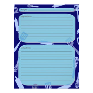 Blue shades cooking utensils recipe page