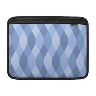 Blue Shades Rhombus And Hexagon Pattern MacBook Sleeve