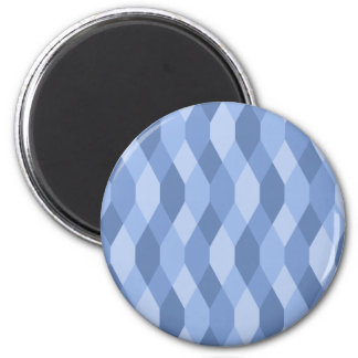 Blue Shades Rhombus And Hexagon Pattern 2 Inch Round Magnet