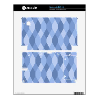 Blue Shades Rhombus And Hexagon Pattern Skins For DSi XL