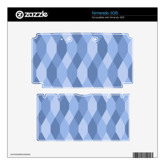 Blue Shades Rhombus And Hexagon Pattern Skin For 3DS