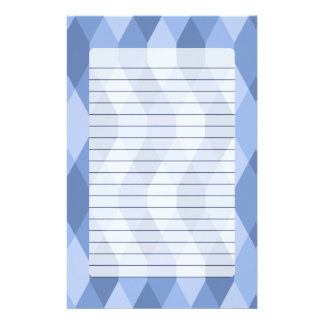 Blue Shades Rhombus And Hexagon Pattern Stationery