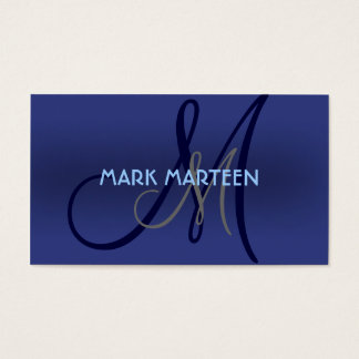 Blue shades simple monogram custom business cards