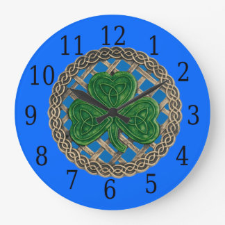 Blue Shamrock And Celtic Knots Round Clock