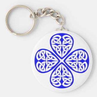 blue shamrock celtic knot keychain