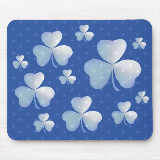 Blue shamrock  with stars - mousepad mouse pad