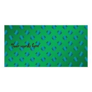 Blue shamrocks on green background customized photo card
