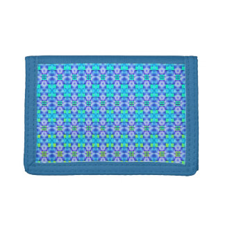 Blue shapes showy and clear green. trifold wallet