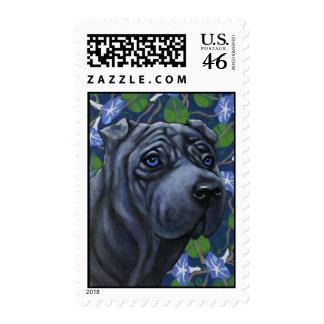 Blue Shar Pei Dog Postage Stamp