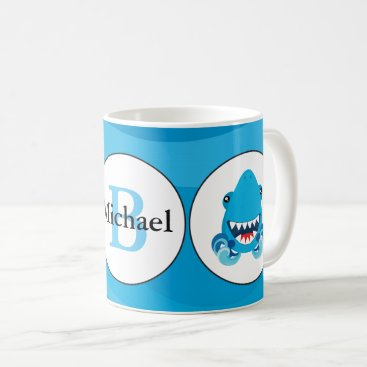 Beach Themed Blue shark beach monogram coffee mug