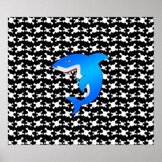 Blue shark black and white skulls pattern print