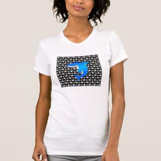 Blue shark black and white skulls pattern shirts