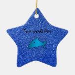 Blue shark blue glitter christmas ornaments