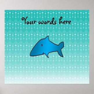 Blue shark bubbles pattern print