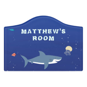 Wondrous Blue Shark Kids Room Door Sign Home Interior And Landscaping Oversignezvosmurscom