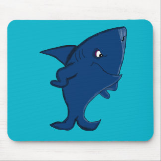 Blue shark mouse pad