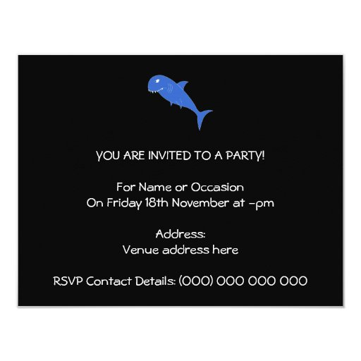 Blue Shark on Black. 4.25x5.5 Paper Invitation Card
