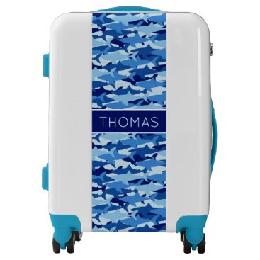 Beach Themed Blue Shark Pattern| Add Your Name Luggage