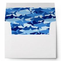 Blue Shark Pattern Envelope