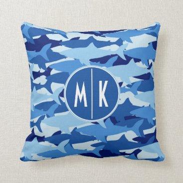 Beach Themed Blue Shark Pattern | Monogram Throw Pillow