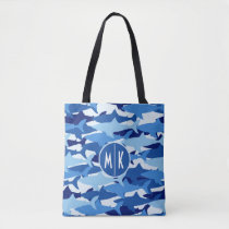 Blue Shark Pattern | Monogram Tote Bag