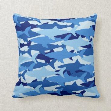 Beach Themed Blue Shark Pattern Throw Pillow