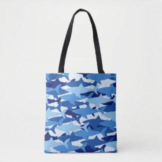 Blue Shark Pattern Tote Bag