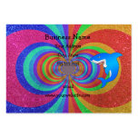 Blue shark psychedelic glitter rainbow business cards