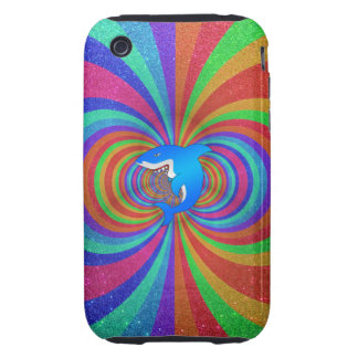 Blue shark psychedelic glitter rainbow iPhone 3 tough covers