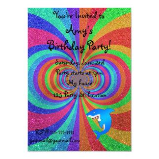 Blue shark psychedelic glitter rainbow 4.5x6.25 paper invitation card