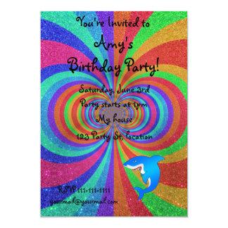 Blue shark psychedelic glitter rainbow 5x7 paper invitation card