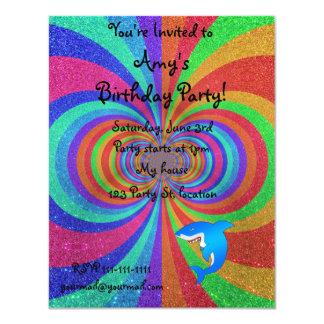 Blue shark psychedelic glitter rainbow 4.25x5.5 paper invitation card