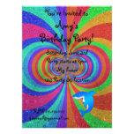 Blue shark psychedelic glitter rainbow custom invitations