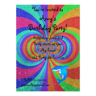 Blue shark psychedelic glitter rainbow 5.5x7.5 paper invitation card