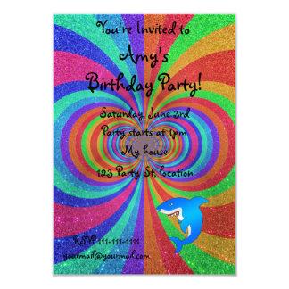 Blue shark psychedelic glitter rainbow 3.5x5 paper invitation card
