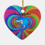 Blue shark psychedelic glitter rainbow christmas tree ornaments