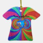 Blue shark psychedelic glitter rainbow christmas ornaments