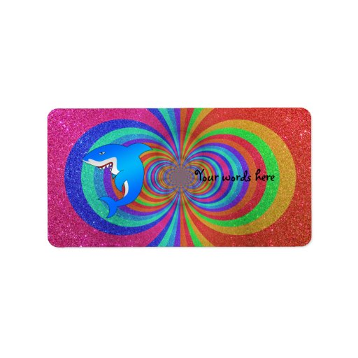 Blue shark psychedelic rainbow glitter custom address label