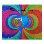 Blue shark psychedelic rainbow glitter poster