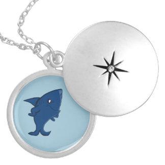Blue shark round locket necklace