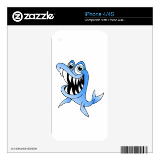 Blue Shark Decal For iPhone 4