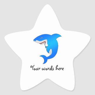 Blue shark star sticker
