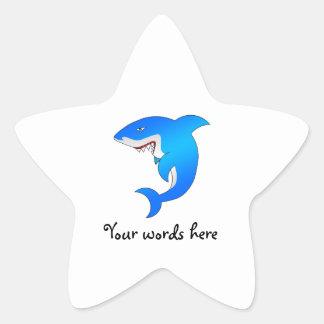 Blue shark star sticker