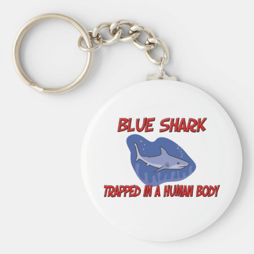 Blue Shark trapped in a human body Key Chain