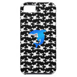 Blue shark with black and white skulls pattern iPhone 5 covers