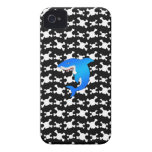 Blue shark with black and white skulls pattern Case-Mate iPhone 4 case