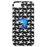 Blue shark with black and white skulls pattern iPhone 5 case